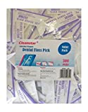 Cleanstar, 300pcs Dental Floss Picks Flossers, Individually Wrapped Oral Care Teeth Clean Flat Wire Floss Picks (Packed Individually Each Floss)