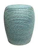 Sagebrook Home FC10247-01 Bead Texture Ceramic Garden Stool, Teal Ceramic, 15 x 15 x 18.5 Inches