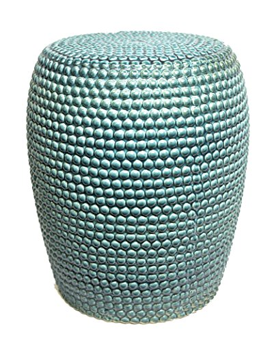 Sagebrook Home FC10247-01 Bead Texture Ceramic Garden Stool, Teal Ceramic, 15 x 15 x 18.5 Inches by Sagebrook Home