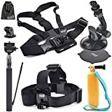 EEEKit 5in1 Accessories Starter Kit for AEE Technology S70 S70AEE Waterproof Video Cam,Head Strap,Floaty Grip Handle Pole,Chest Harness and Car Mount