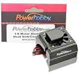 Powerhobby Aluminum Motor Heatsink + Cooling Fan For 1 8 Size Motors Gun fits : Castle Creations 2200kv + 2650KV Motors - Dynamite - Hpi - Novak - Trinity - Arrma Nero - Kraton - Fazon - Outcast - Tekin -