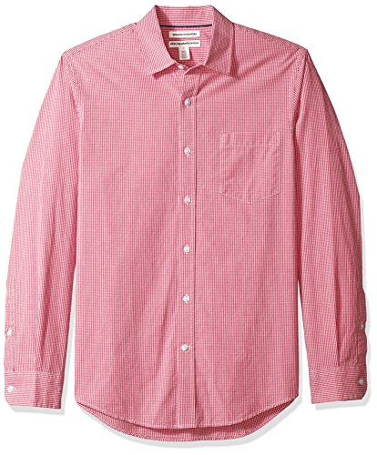 Amazon Essentials Men's Slim-Fit Long-Sleeve Casual Poplin Shirt, Red Mini-Gingham, Medium (Best Shirts To Wear Untucked)