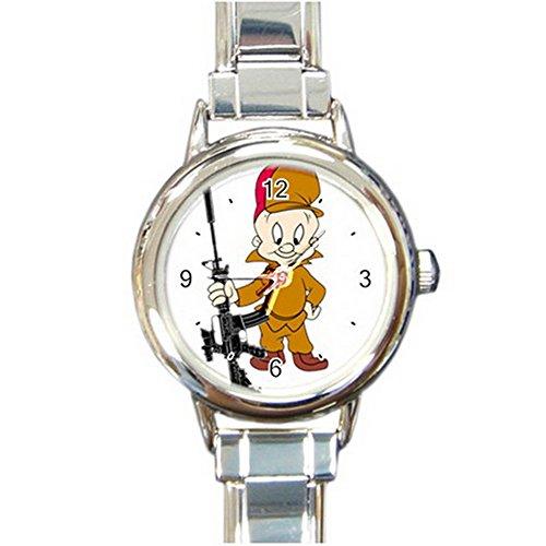 elmer-fudd-looney-tune-cartoon-custom-design-round-italian-charm-watch-limited-edition2