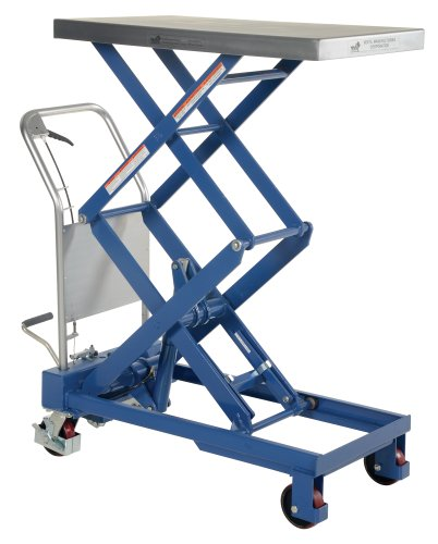 Vestil-CART-800-D-TS-Hydraulic-Elevating-Cart-with-Double-Scissor-800-lb-Capacity-35-12-x-20-Platform-15-12-to-52-Height-Range