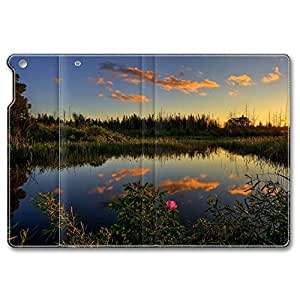 iPad Air Case, Shock-Absorption/Impact Resistant PU pc hard Personalized Protective Folio Smart Case Cover(Automatic Wake/Sleep Function) for iPad Air - Lake Scenery