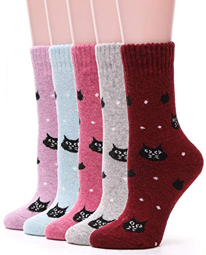Womens Wool Socks Thick Heavy Thermal Fuzzy Winter Warm Cute Crew Socks For Cold Weather 5 Pack (Cat)