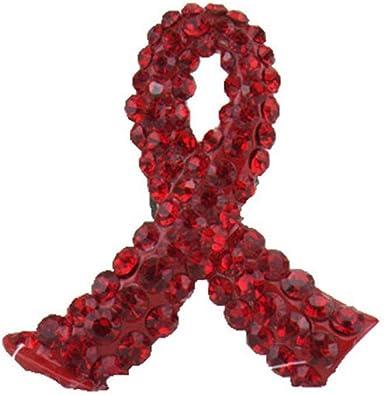 1pc Ruban Rouge Broche Strass Cristal De Ruban De Conscience De La Maladie Broche /épinglette Cadeau pour Les Femmes