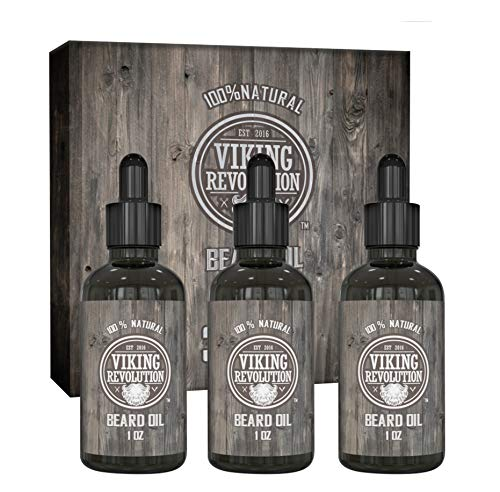 Viking Revolution Beard Oil Conditioner - All Natural Unscented Organic Argan & Jojoba Oils - Softens, Smooths & Strengthens Beard Growth - Grooming Beard and Mustache Maintenance Treatment, 3 Pack