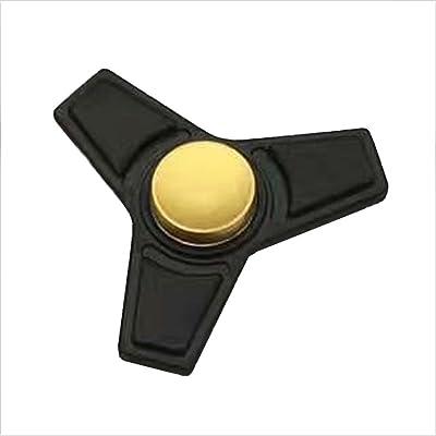Christmas Concepts® - Tri Fidget Hand Spinner - Reductor de estrés, alivio de estrés, autismo - negro mate con diseño medio de oro: Juguetes y juegos