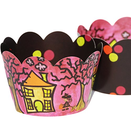 Halloween Cupcake Wrappers for Kids, Neon Paper Party Decorations, Confetti Couture Party Supplies, 36 Reversible Cupcake (Easy Halloween Cupcake Decorating Ideas)