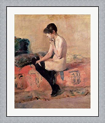 Nude Woman Seated on a Divan, 1881 by Henri de Toulouse-Lautrec Framed Art Print Wall Picture, Flat Silver Frame, 31 x 36 inches