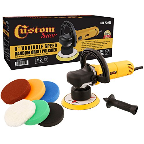 "Custom Shop Heavy Duty 6"" Variable Speed Random Orbital Polisher with 6-Pad Set"