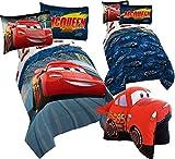 Disney CARS 6pc FULL Size Bedding ~ Twin/Full REVERSIBLE Comforter & FULL Size Sheet Set + LIGHTNING MCQUEEN Plush Pillow
