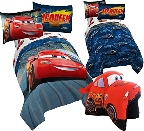 Disney CARS 6pc FULL Size Bedding ~ Twin/Full REVERSIBLE Comforter & FULL Size Sheet Set + LIGHTNING MCQUEEN Plush Pillow (Racetrack Mcqueen Lightning)