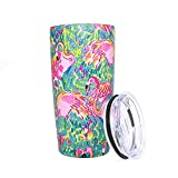 Pandaria 20 oz Stainless Steel Vacuum Insulated Tumbler with Lid - Double Wall Travel Mug Water Coffee Cup for Ice Drink & Hot Beverage, Flamingo