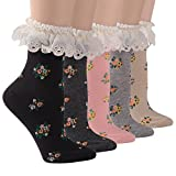 Socks Daze Women's Lace Ruffle Frilly Colorful Floral Cotton Casual Novelty Ankle Socks 5 Pairs