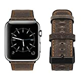 top4cus Genuine Leather iwatch Strap Replacement Band Stainless Metal Clasp, Compatible for 38mm 42mm Apple Watch Series 3 S2 S1 and Sport Edition (42 mm, Rugged Brown a)