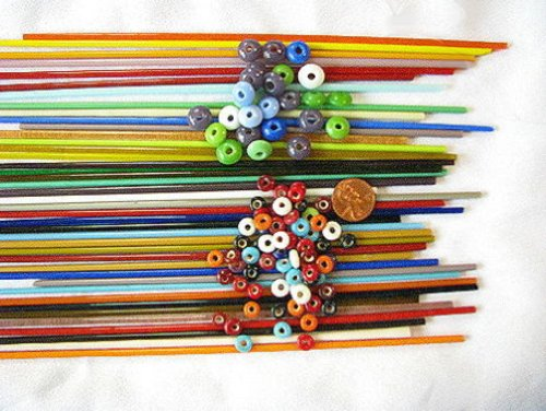 Devardi Glass Lampwork, Beadmaking Glass, COE 104 Sampler 3mm Stringers, 18 Rods -