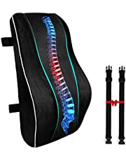 CompuClever Orthopedic Memory Foam Seat Cushion and Lumbar Support Back Pillow for Lower Back Tailbone and Sciatica Relief Office Chair and Car Seat Cushion Set with Adjustable Strap