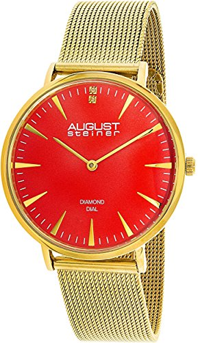August Steiner Women's AS8207YG Gold Stainless-Steel Analog Quartz Fashion Watch