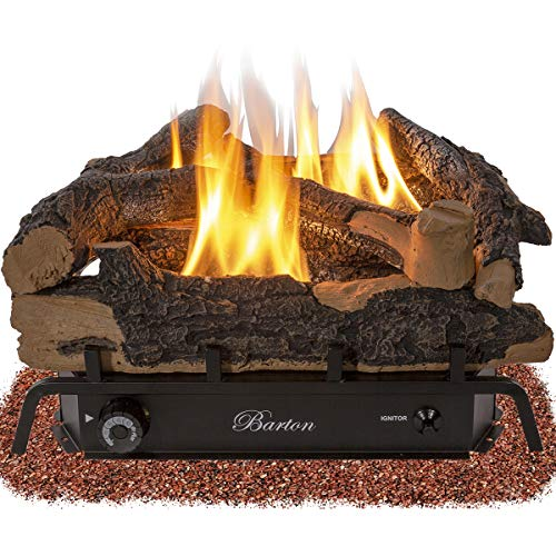 Barton Premium 24-inch Natural Gas Fuel Log Vent-Free Set 32,000 BTU Dual Burner Adjustable Flame Ember ANSI