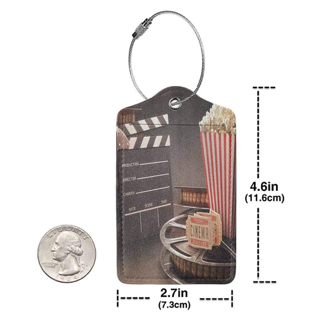 Waterproof luggage tag Movie Theater Old Fashion Entertainment Objects Related to Cinema Film Reel Motion Picture Soft to the touch Cloth W2.7 x L4.6