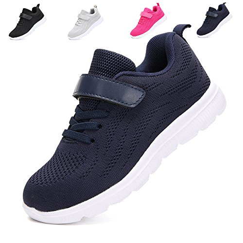 Kids Lightweight Sneakers Boys and Girls Cute Breathable Athletic Walking Casual Running Shoes Blue 31