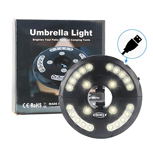 (CHINLY Patio Umbrella Lights Warm White 24LEDs 3 Level Dimming Modes - Battery/USB Operated,Umbrella Pole Light for Patio Umbrellas, Outdoor Use, Or Camping Tents (Warm White))