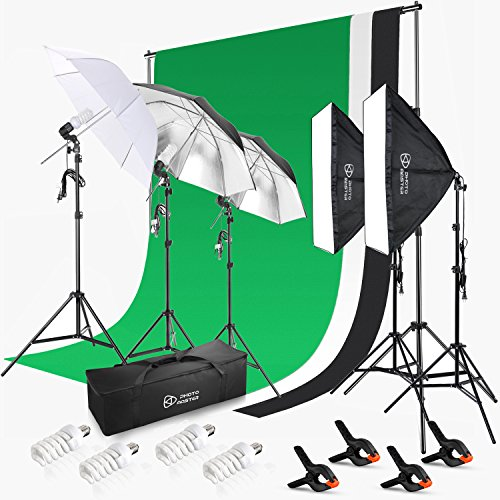 Photo Master Photography Continuous Lighting Umbrellas Kits for Product Portrait and Video Shoot - Included Background Support, 3 colors Backdrops, 3 x Umbrella Light Kit, 2x Softbox by PHOTO MASTER