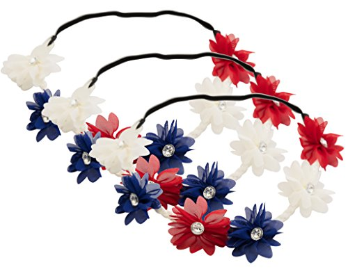 Partay Shenanigans 4th of July Flower Stretch Headbands 3 Pack- American Patriotic Red White Blue Floral Crown ()