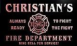 qy235-r Christian's Fire Fighter Department Firemen Bar Neon Light Sign
