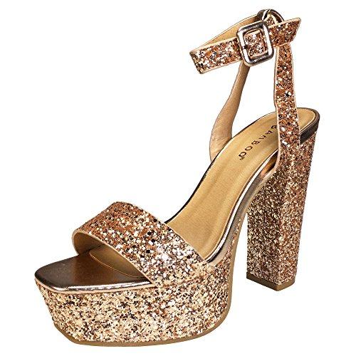 Bamboo Women's Single Band High Platform Sandal With Ankle Strap In Glitter, Rose Gold Glitter, 10.0 B (M) (Band Platform Sandal)