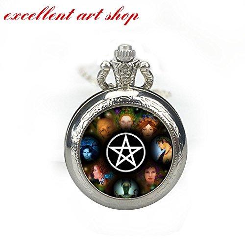 Wisdom of the Pentagram Pocket Watch Pendant, Wisdom Watch Necklace Wiccan Pentagram Glass Dome Watch Necklace Pendant