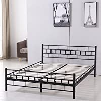 Sliverylake Queen Mattress Size Metal Platform Bed Frame with Headboard Footboard Bedroom Furniture