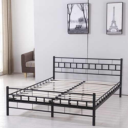 Full Size Queen Size Bed Frame (Sliverylake Queen Mattress Size Metal Platform Bed Frame with Headboard Footboard Bedroom Furniture)