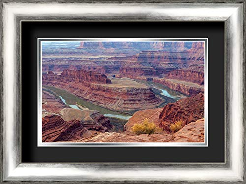 (UT, Dead Horse Point SP Colorado River gooseneck 24x17 Silver Contemporary Wood Framed and Double Matted (Black Over Silver) Art Print by Illg, Cathy - Gordon )