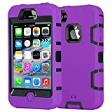 iPhone 4S Case,Apple iPhone 4 4S Case,Shockproof Heavy Duty Combo Hybrid Defender High Impact Body Rugged Hard PC & Silicone Case Protective Cover For Apple iPhone 4 4S (Purple Black)