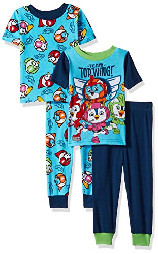 (Nickelodeon Boys' Toddler Top Wings 4-Piece Cotton Pajama Set, Aviation Blue, 3T)