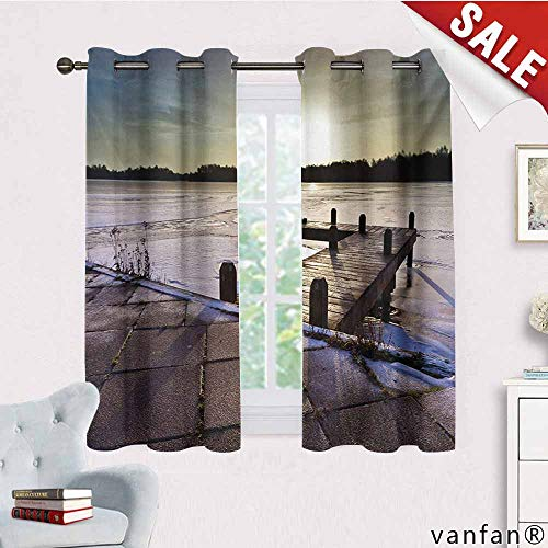 Big datastore Luxury Drapes and Curtains,Winter,Sunrise Above A Jetty On A Frozen Winter Lake with Ice and Snow Netherlands Holland,Specially Custom for Youmulticolor,W72 ()