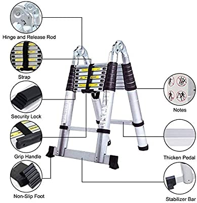Meditool 5M Escalera Plegable Aluminio,2,5M+2,5M Escalera Telescópica, Escalera Plegable Portátil,16 Escalones Antideslizantes,Soporta Hasta 150 kg: Amazon.es: Bricolaje y herramientas