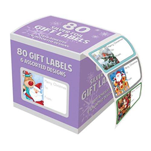 Tallon, confezione da 80adesivi in carta stagnola a tema natalizio da attaccare sui regali Shop Inc