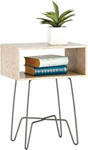 mDesign Modern Farmhouse Side/End Table - Open Storage Shelf Basket, Hairpin Legs, Wooden Top - Sturdy Vintage, Rustic, Industrial Home Decor Accent Furniture for Living Room, Bedroom - Gray/Graphite