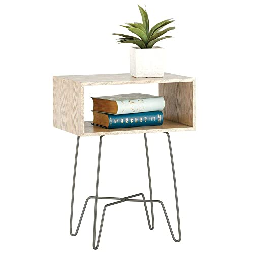 mDesign Modern Farmhouse Side End Table – Open Storage Shelf Basket, Hairpin Legs, Wooden Top – Sturdy Vintage, Rustic, Industrial Home Decor Accent Furniture for Living Room, Bedroom – Gray Graphite
