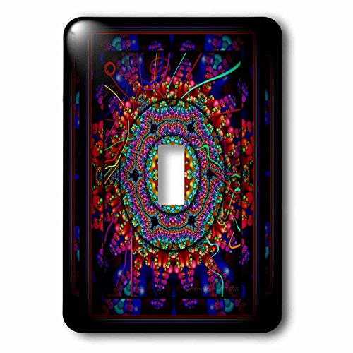 Harmony Switchplate - 3dRose lsp_24832_1 Mandala 4 Mandala India Buddhism Hinduism Psychedellic New Age Harmony Balance Meditation Single Toggle Switch