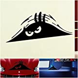1 Pc Paradisiacal Popular Funny Peeking Monster Car Sticker Scary Eyes Auto Decals Windows Decor Color Black