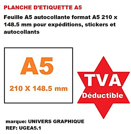 500 Láminas de etiqueta A5 - hoja A5 autoadhesivo para expéditions ...