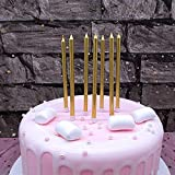 Toys : XNOVA 12 Count Long Thin Champagne Gold Birthday Cake Candles in Holders for Birthday Wedding Party Cupcake Decorations Tall Candle Pieces