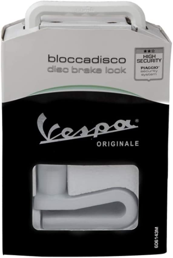Vespa Original Brake Disc Rim Lock Anti-Theft Device Shock Proof Drilling Proof Pick Proof Anti-Theft Lock for Vespa GTS Vespa GTV Vespa Elettrica Genuine Vespa OEM 606143M Imported from Italy