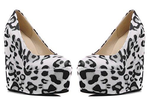Idifu Womens Unico Stampato Super Cunei Zeppe Piattaforma Slip On Pumps Leopardo Nero