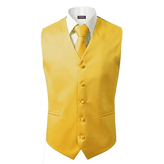 3 Pcs Vest + Tie + Hankie Yellow Fashion Mens Formal Dress Suit Waistcoat